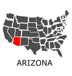 arizona state on usa map vector image