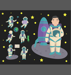 astronauts in space working character and vector image
