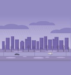 autumn weather rainy day city raining street cars vector image