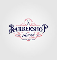 barbershop logo design vintage lettering on dark vector image