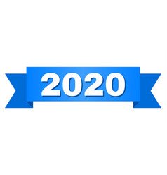 Blue ribbon with 2020 text vector