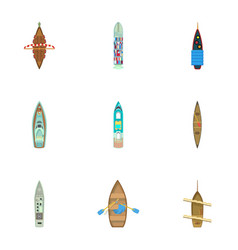 Boat roof icons set cartoon style vector