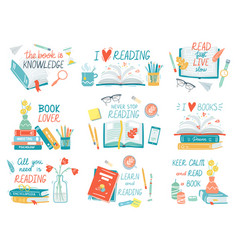Books collection hand drawn lettering books vector