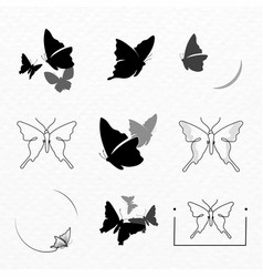 Butterfly logo badge black aesthetic flat design vector