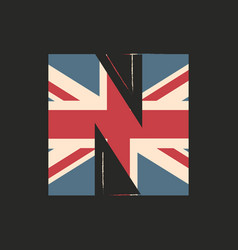 Capital 3d letter n with uk flag texture isolated vector