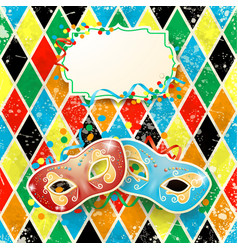 carnival with masks and label on harlequin vector image