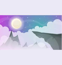 Cartoon night landscape comet moon mountains vector
