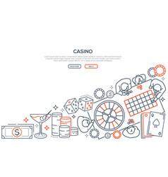 Casino gambling linear landing page vector