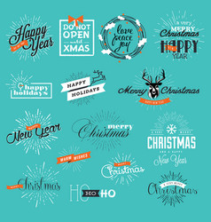 Christmas and new year vintage style signs vector