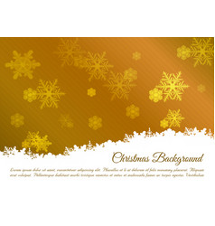 christmas background with snowflakes in gold color vector image