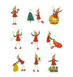 christmas elf characters set cute girls santa vector image