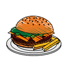 Color crayon stripe cartoon hamburger in dish with vector
