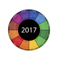 Colorful round calendar for 2017 year vector
