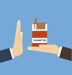 Concept giving up cigarettes a person offers vector