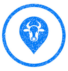 Cow map pointer rounded grainy icon vector