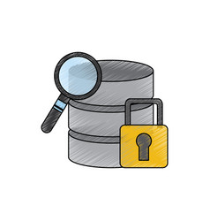 database search safety lock data center icon image vector image