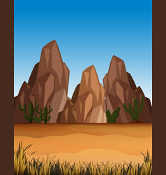 desert scene with mountains and field vector image