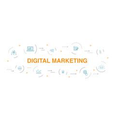 Digital marketing infographic 10 steps circle vector