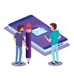Digital technology with teamwork people isometric vector