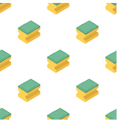 Dishwashing sponge icon in cartoon style isolated vector