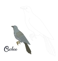 Educational game connect dots to draw cuckoo bird vector