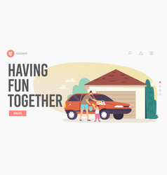 Family having fun together landing page template vector