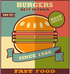 Fast food menu Hot Hamburger vector