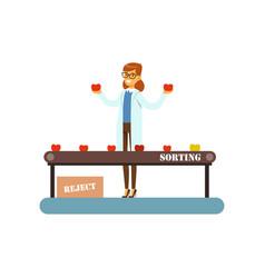 Female worker sorting fruit on conveyor line vector