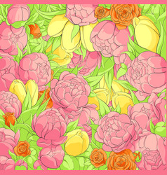 Floral peonies background vector