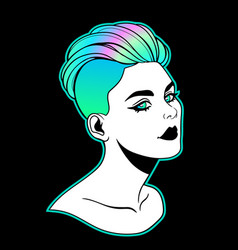 girl with a bright hairstyle undercut vector image
