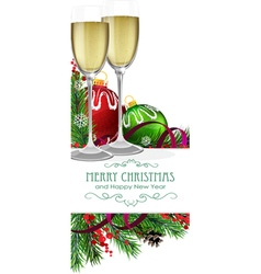 Glasses of champagne with Christmas balls vector image