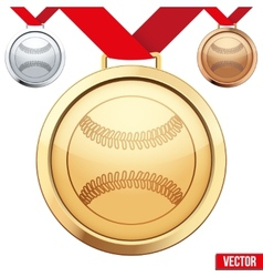 Gold medal with the symbol of a baseball inside vector