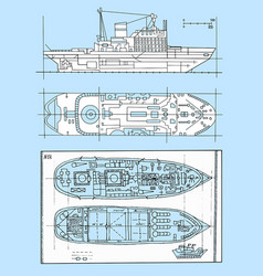 Graphic schemes of modern ships vector