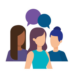 Group of girls with speech bubbles vector