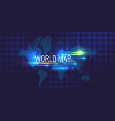 halftone background and banner with world map on vector image