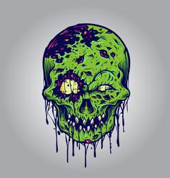 halloween zombie skull vector image