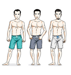 handsome men standing wearing beach shorts people vector image