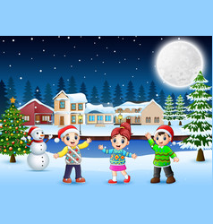 Happy kids in the christmas day vector