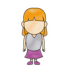 Happy little girl character standing infantile vector