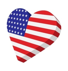 Heart in the USA flag colors cartoon icon vector image