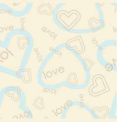 heart symbol with love text seamless pattern vector image
