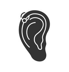 helix piercing hoop glyph icon vector image