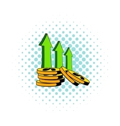 Increase of cash income icon comics style vector image
