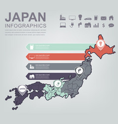 japan map with infographic elements infographics vector image