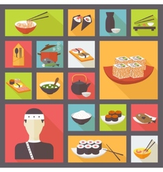 Japanese cuisine food icons set flat design vector image