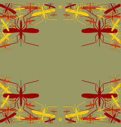Leaflet pattern mosquito silhouette icons vector