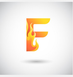 letter f with fire logo concept creative and vector image