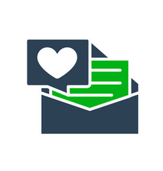 Letter with big heart colored icon declaration vector