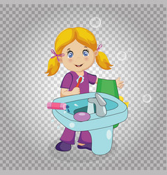 little blonde girl brushing teeth in bathroom vector image