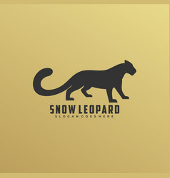 logo snow leopard silhouette style vector image